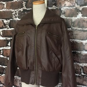 Ambiance Faux Leather Jacket Dark Brown Pockets 1X